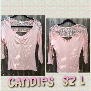 Like new lace cut out 3/4 CANDIES top